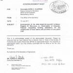 DA Acknowledgement Sheet Re Port Project
